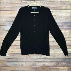 EUC Karen Scott Button Cardigan Black Sweater L